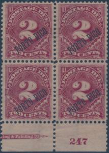 PUERTO RICO #J2 XF OG 2(LH) 2(NH) BLOCK OF 4 WITH PLATE # & PART IMPRINT BR972