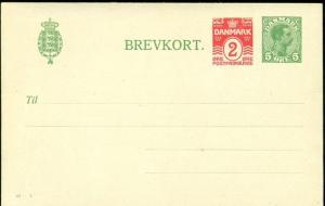 DENMARK 5ore + 2ore #41V, single card (52a) unused, VF