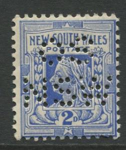 New South Wales- Scott 123 - QV- OS  NSW Perfin Issue -1906- MNH - 2d Stamp