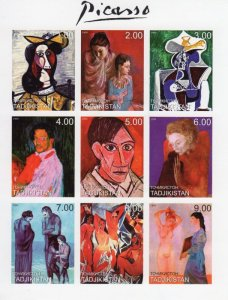 Tajikistan 1999 PABLO PICASSO Paintings Sheet Imperforated Mint (NH)