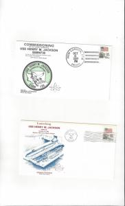 US Navy USS Henry M. Jackson SSBN 730, 2 Covers, Commission/Launch