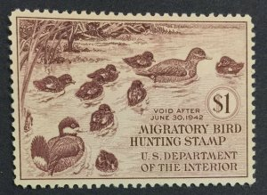 MOMEN: US STAMPS #8 RW8 DUCK MINT OG H XF-SUP LOT #41411