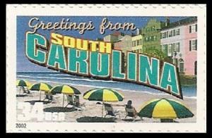 US 3600 Greetings from South Carolina 34c single (1 stamp) MNH 2002