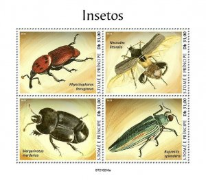 Sao Tome & Principe 2021 MNH Insects Stamps Beetles 4v M/S