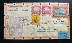 1930 Miami FL Usa First Flight Airmail Cover FFC To Montevideo Uruguay Via Panam