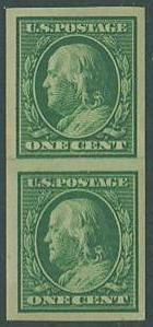 USA SC# 383 Franklin, 1c, Imperf, Paste-up Pair, MNH