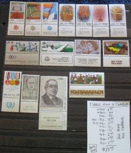 Israel MNH Tabbed Selection- SCV=$14.05