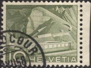 Switzerland 330 (used) 10c mountain railway, yel grn (1949)