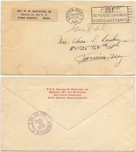 USA - 1942 Military Cover Rated Free with Slogan Cancel