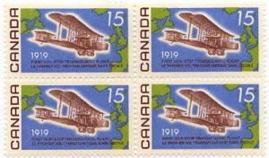 Canada USC #494i Mint Block of Four SE AT LEFT - Fl. Paper Cat. $50.