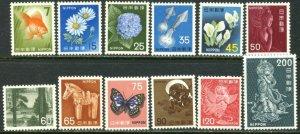 JAPAN Sc#880 891 1966-69 Definitives Part Set OG Mint NH