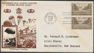 USA 1945 CROSBY photo FDC to New Zealand - The Army........................55344