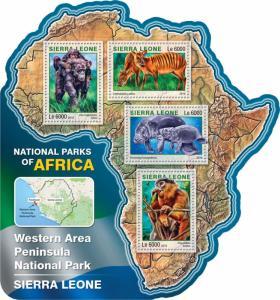 Sierra Leone 2016 MNH Western Area Peninsula National Park 4v M/S Monkeys Stamps