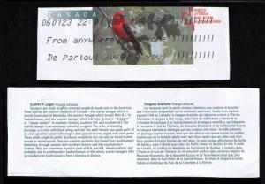 CANADA 2002 BIRDS TOPICAL CUT SQUARE #U169 SCARLET TANAGER + CANADAPOST LABEL