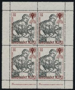 Uruguay 1040 block of 4 MNH Art, Durer, International Year of the Child