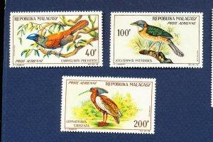 MALAGASY REPUBLIC - Scott  C72-C74 - FVF unused light hinged - BIRDS - 1963