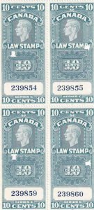 Canada: Law Stamp Plate Blk/4, Van Damm #FSC21, Punched (42863)