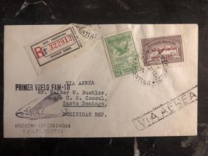 1931 Buenos Aires ARgentina First Flight Cover FFC To St Domingo Dominican Rep