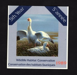 Canada 1989 Snow Geese Duck Stamp booklet (Unitrade #FWH5) VFMNH CV $30.00
