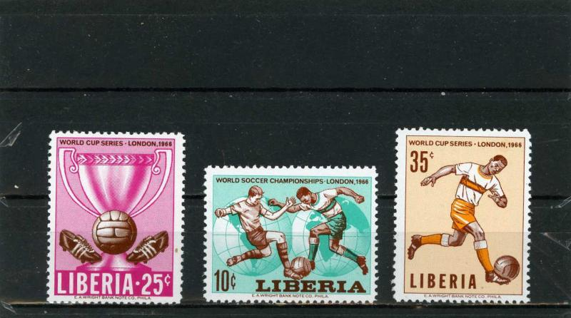 LIBERIA 1966 Sc#444-446 SOCCER WORLD CUP ENGLAND SET OF 3 STAMPS MNH