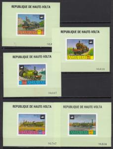 Upper Volta - 1975 Locomotives Deluxe sheets - MNH (2265)