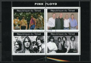Chad Music Stamps 2019 CTO Pink Floyd Famous Musicians People 4v M/S II