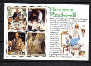 2840 Nornan Rockwell Souvenir Sheet MNH VF