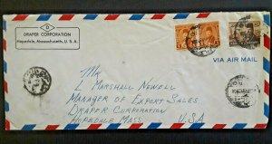1949 Cairo Egypt To Hopedale Massachusetts Draper Corporation Airmail Cover