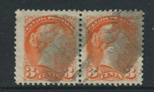 Canada -Scott 37 - Queen Victoria -1873 - Used - Joined Horiz.Pair 3c Stamp