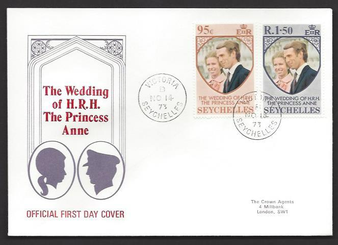 SEYCHELLES 1973 Princess Anne Wedding Set on Cachet FDC Scott 311-312