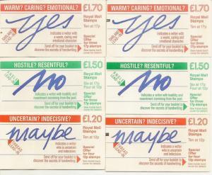 GB 1986 Handwriting Series FJ6A/B, FP3A/B + FT7A/B All Selvedges Cat£43 (6)
