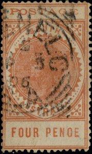 SOUTH AUSTRALIA - 1906 GLENELG / SA squared circle DS on SG269 4d red-orange