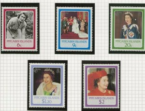 PITCAIRN ISLANDS 1986 60TH BIRTHDAY QUEEN ELIZABETH 11 ,SET OF 5 PERF