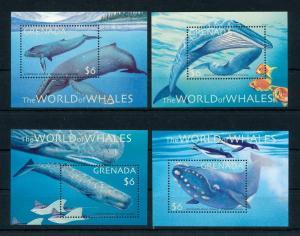 [99710] Grenada 2001 Marine Life Whales 4 Souvenir Sheets MNH