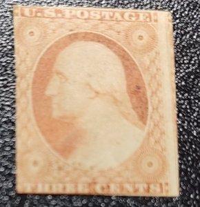 # 10A - 1851-1857 Washington Orange Brown 3 Cent Stamp Used F/VF $150 SCV