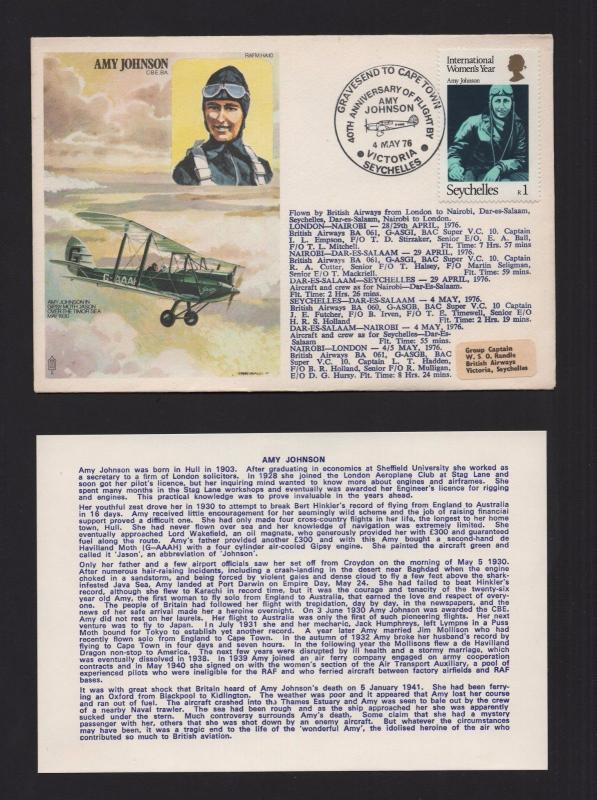 FDC COVER  Africa 1976 SEYCHELLES AMY JOHNSON WOMEN AIRCRAFT AIRPLANE TIMOR SEA