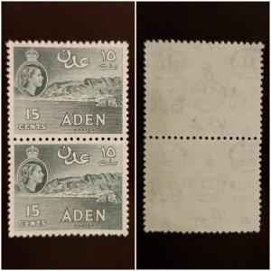 Aden 1953 MNH Stamps pair, Sc 50. Queen Elizabeth,  Crater, Greenish Slate. RARE