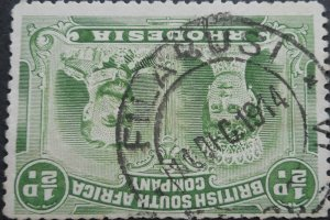 Rhodesia Double Head HalfPenny with FILABUSI broken DEC (DC) postmark