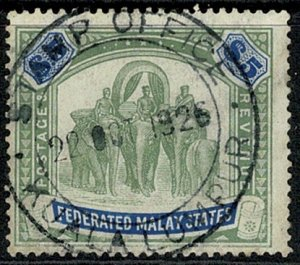FEDERATED KG V 1922-34 5$ GREEN & BLUE VFU SG81 Wmk.MSCA VGC