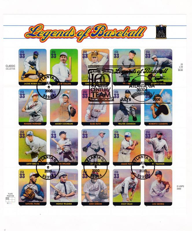 United States 2000 Legends of Baseball Sheet on Large First Day Cover VF/Clean