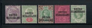 BECHUANALAND PROTECTORATE SCOTT #33-37 1891-94 GREAT BRITAIAN OVPTS- MINT HINGED