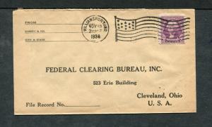 Postal History - Williamsport IN 1934 American Flag AMF-A14 Return Cover B0385