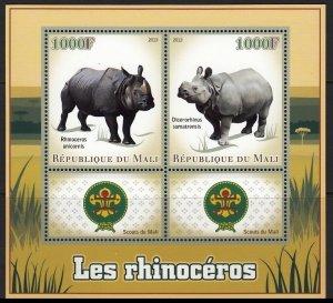 MALI 2013 WILD ANIMALS RHINOCEROS SCOUTS ANIMAUX SAUVAGES WILDE TIERE [#13129]