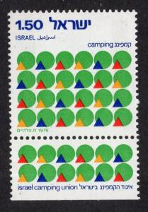 Israel  #605   MNH  1976  with tab  tents and sun   camping union