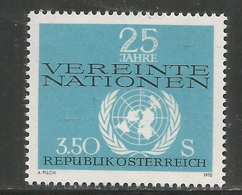 AUSTRIA 884 MNH UNITED NATIONS EMBLEM 1970
