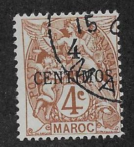 FRENCH MOROCCO SC# 14  AVF/U    1908