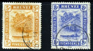 BRUNEI 1916 New Colours Single Plate Set Wmk Multiple Crown CA SG 49 & SG 50 FU