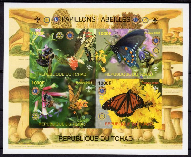 Chad 2008 Butterflies and Bees Rotary/Lions/Mushrooms/Scout Shlt(4) IMPERF.MNH