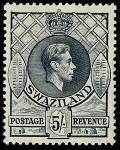 SWAZILAND KG VI 1938-54 5/- GREY UNUSED SG37 Wmk.MSCA P13.25x13 VGC
