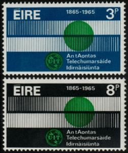 ✔️ IRELAND 1965 - ITU GLOBE & COMMUNICATION - SC. 198/199 MNH OG [IR0170]